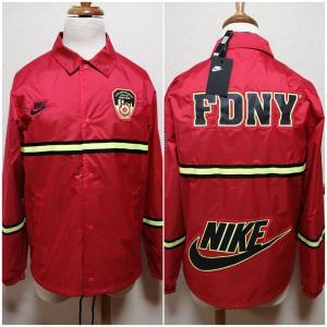 ナイキ NIKE コーチジャケット FDNY ニューヨーク市消防局 赤|freak-10