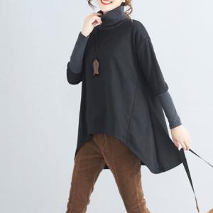 ロング タートル リブ袖 カットソー ニット ゆったりサイズ ビッグサイズ ブラック 秋色 秋冬|free-style