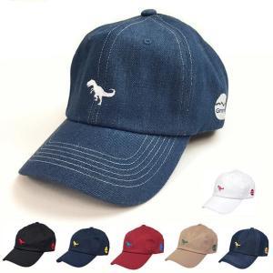 レディース メンズ 帽子 ワンポイント刺繍 キャップ 恐竜 ダイナソー ティラノザウルス キャップ ブラック ベースボールキャップ|free-style