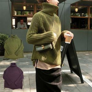 ローゲージ オフタートル セーター ニット ゆったりサイズ ビッグサイズ グレー カーキ オリーブ 秋色 秋冬|free-style