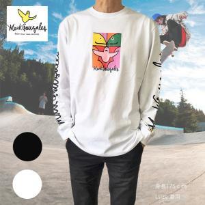 送料無料 Mark Gonzales マークゴンザレス 長袖Tシャツ ロングスリーブTシャツ 2g3316 ブラック ホワイト M L XL デカめ ロンT|free-style