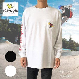 送料無料 Mark Gonzales マークゴンザレス 長袖Tシャツ ロングスリーブTシャツ 2g3315 ブラック ホワイト M L XL デカめ ロンT|free-style