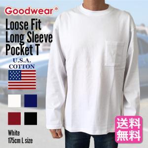 GOODWEAR グッドウェア Tシャツ カットソー 長袖 メンズ ポケット ルーズフィット オーバーサイズ 大きいサイズ ロンT 送料無料|free-style