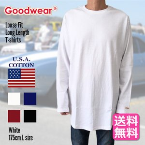 GOODWEAR グッドウェア 長袖Tシャツ ブラック ロングスリーヴTシャツ ロング丈 ラウンド裾 大きいサイズ 長袖 送料無料|free-style