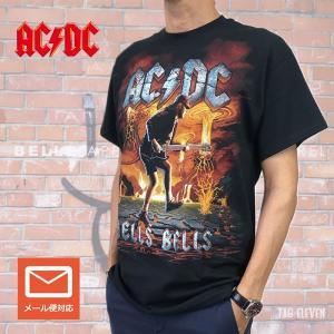 AC/DC Tシャツ HELLS BELLS VOLCANO ブラック バンドT バンドTシャツ ロックTシャツ acdc 送料無料 free-style