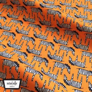 Michael Miller マイケルミラー 生地 ゼブラ柄 シマウマ オレンジ  北欧柄 ファブリック生地 コットン100%|free-style