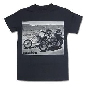 映画Tシャツ easy rider イージーライダー ブラック モノクロフォト Tシャツ|free-style