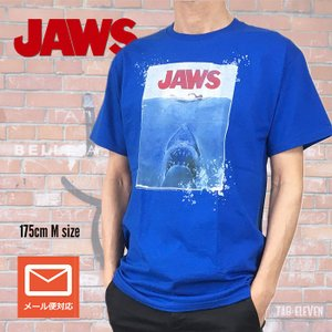 メンズ Tシャツ JAWS ジョーズ AMITY ISLAND 1975 ヴィンテージ ブルー 映画Tシャツ 送料無料|free-style