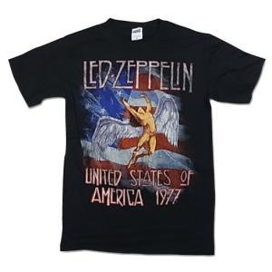 Led Zeppelin  レッド・ツェッペリン Tシャツ 1977 US TOUR SWAN ブラック メンズ バンドTシャツ ロックTシャツ|free-style