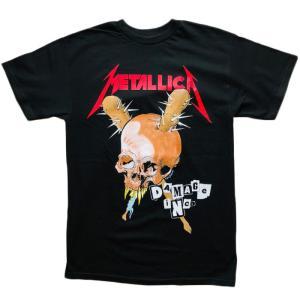 METALLICA メタリカ Tシャツ カットソー 半袖 メンズ DAMAGE INC TOUR 1986 ブラック バックプリント バンドTシャツ|free-style