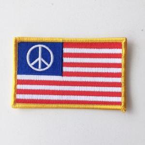 ワッペン パッチ Peace USA 星条旗 ワッペン バンドワッペン 丸型 ゆうパケット 送料無料|free-style