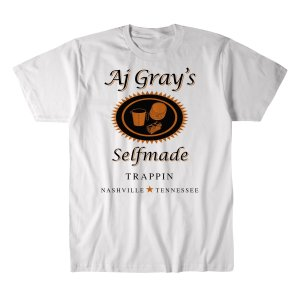 AJグレイ Tシャツ「AJ GRAY Selfmade Trappin(ホワイト)Tシャツ Imported from DeathMatch WorldWide」 米直輸入プロレスTシャツ|freebirds