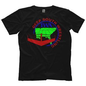 IWAディープサウス Tシャツ「IWA Deep South オールドスクール ロゴ Tシャツ(レッド/グリーン)」アメリカ直輸入プロレスTシャツ|freebirds