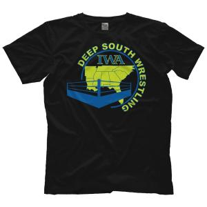 IWAディープサウス Tシャツ「IWA Deep South オールドスクール ロゴ Tシャツ(イエロー)」アメリカ直輸入プロレスTシャツ|freebirds