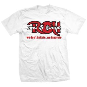 ROH ビンテージ・ロゴ Tシャツ「Ring Of Honor We Don't Imitate White Tシャツ」【アメリカ直輸入 大きいサイズ(XXL 3XL 4XL)もあり】|freebirds