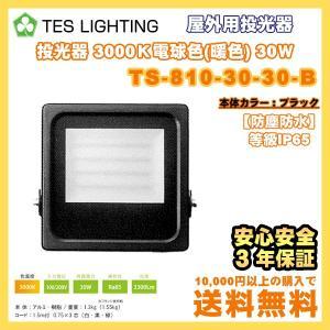 LED ライト 照明 屋外用投光器 防水 30Wタイプ 3000K 3300Lm ブラック テスライティング TS-810-30-30-B freedom-telwork
