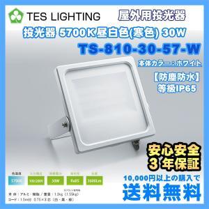 LED ライト 照明 屋外用投光器 防水 30Wタイプ 5700K 3600Lm ホワイト テスライティング TS-810-30-57-W freedom-telwork