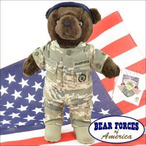 テディベア アメリカ 空軍制服 迷彩柄 約25cm 軍隊 こげ茶 ミリタリー仕様 BEAR FORCES of America テディベア くま ぬいぐるみ アメリカ 1-1876L ┃ freedom-web