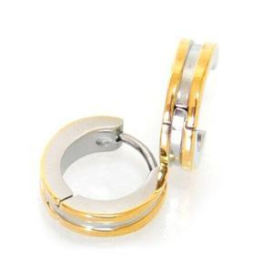 フープ メンズピアス ゴールドカラー ダブルライン メンズ レディース ステンレス ゴールド ノンアレルギー ボディピアス spe-00030 【メール便対応】┃|freedom-web