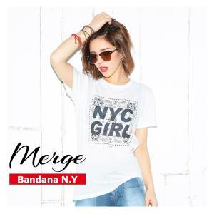 【送料無料メール便】Merge Tシャツ/Bandana N.Y LA ブランド インポート レディース メンズ 半袖 てろT ロサンゼルス バンダナ ゆったり シンプル ロゴ|freekstore