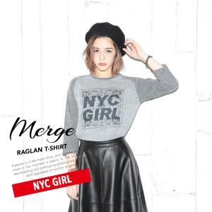 【送料無料メール便】Merge マージ ラグランTシャツ/NYC GIRL ブランド インポート レディース メンズ 半袖 てろT ロサンゼルス ゆったり シンプル ロゴ freekstore