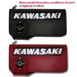 【即納】【Kemeko Moto Locomotion】KAWASAKI純正タンクエンブレムインサートライダースウォレットカワサキ|freeline