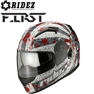 【送料無料】RIDEZ HELMET FIRST ユナイテッドローズ ホワイト フルフェイスヘルメット ファーストSG規格 バイク用ヘルメット デザインヘルメット|freeline