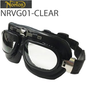 NORTON ノートン バイク用ゴーグル NRVG01 ブラック/クリア ビンテージ・クラシックスタイル【あすつく対応】|freeline