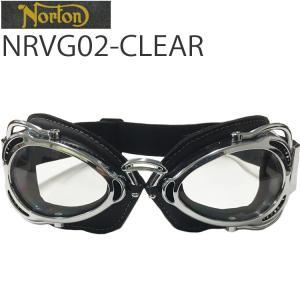 NORTON ノートン バイク用ゴーグル NRVG02 ブラック/クリア ビンテージ・クラシックスタイル あすつく対応|freeline