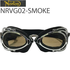 NORTON ノートン バイク用ゴーグル NRVG02 ブラック/スモーク ビンテージ・クラシックスタイル あすつく対応|freeline