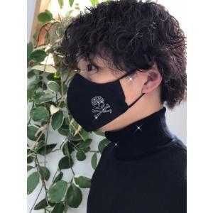 FREESマスク041 new骨ドクロ ラインストーンカラーヘマタイト&オーラムゴールド使用 キラキラマスク 日本製 パパ、彼氏へのプレゼントに!|frees