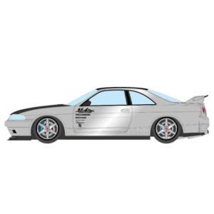 予約EM489C メイクアップ/アイドロン 1/43  Garage Active ACTIVE R33 GT-R Wide body Concept シルバー / カーボンボンネット|freestyle-hobby