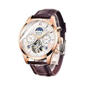 GuTe出品 腕時計 メンズ 自動巻きトゥールビョン風デザイン 革バンド 日月表示 機械式 ホワイト|freewaylovers
