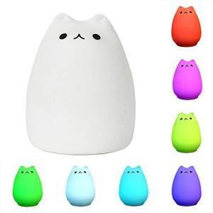 【コンパクトで可愛い】かわいい猫のナイトライトを変える色は赤ちゃん男の子女の子に最適なギフトの選択肢...