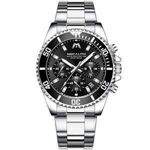 [メガリス]MEGALITH 腕時計 メンズ時計クロノグラフ防水 多針アナログクオーツウオッチステンレススチール 日付|freewaylovers