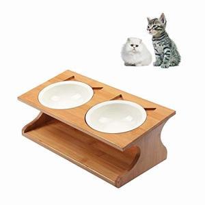 【高品質】ペット食器台の本体は食品グレードの天然木を素材にして作られ、丈夫で長持ちします。同じく安全...