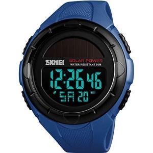 メンズ腕時計 デジタル表示 スマートウォッチ ソーラー ビッグフェイス LED バックライト レザーバンド アラー|freewaylovers