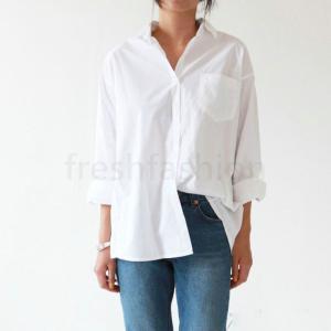 ベーシックシャツ ブラウス ネルシャツ カッターシャツ レディース 長袖 ホワイト 綿 S ~3XL...