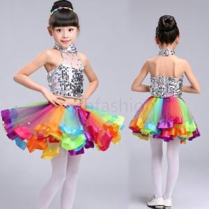 ダンス衣装 キッズ ダンスウェア 子供 スパンコール 2セット カラフルチュールスカート アラビアン衣装 お遊戯会 演出服 女の子