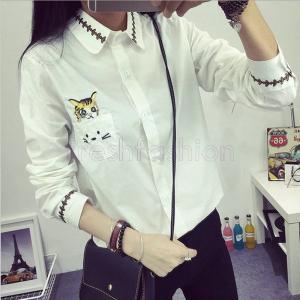 2017人気新品 シャツ ブラウス レディース ポロシャツ 刺繍 可愛い猫 ポケット付き 長袖ml 春秋|freshfashion
