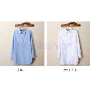 2017新品 人気 シャツ レディース ブラウス 大きいサイズ ワイシャツ チュニック カットソー 襟付き 体型カバー UV対策 薄手 無地 ゆったり シンプル 長袖|freshfashion