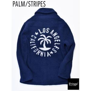パームストライプス PALM/STRIPES イーブンフロー EVENFLOW BOA SHAWL CADG ボアショールバックジャガートカーディガンネイビー 西海岸 サーフ シープボア|fringe-cs