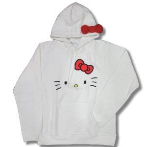 ハロー キティ なりきり リボン 耳付き パーカー 裏毛 ゆったり メンズサイズ 白 / bia017|frogberry