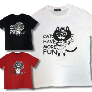 CATTY ネコ Tシャツ 半袖 メンズ 猫 ギター 柄 薄手 / bia068 frogberry