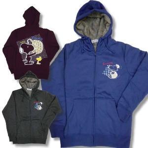 スヌーピー メンズ ジップアップ 裏ボア 起毛 暖か パーカー 長袖 買い物篭柄 薄手 再入荷x2 / bia121|frogberry