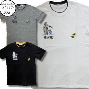 スヌーピー アメカジ メンズ 半袖 ポケット付き フェイク襟 Tシャツ サングラス 柄 ブランド 薄手 /bia158|frogberry