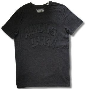 アウトレット メンズ 半袖 Tシャツ 3D 押し出し TRエンボスプリント 英字 柄 ロング丈 薄手 杢墨黒 再入荷x2 / bia203|frogberry