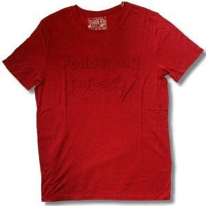 アウトレット メンズ 半袖 Tシャツ 3D 押し出し TRエンボスプリント 英字 柄 ロング丈 薄手 杢赤 再入荷x2 / bia204|frogberry