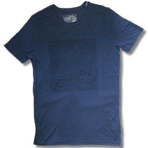 アウトレット メンズ 半袖 Tシャツ 3D 押し出し TRエンボスプリント 英字 柄 ロング丈 薄手 杢紺 再入荷x2 / bia205|frogberry