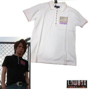 ラスト1枚 在庫処分セール L 白 半袖 ポロシャツ メンズ アメカジサーフ お兄系 LOWBOX / bia270|frogberry